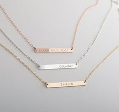 Customize this very popular skinny bar necklace with any name, names, date, name-date or initials that is special to you. All gold filled (wont tarnish)