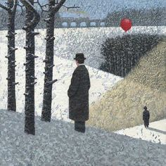 Beside Three Trees by Mark Edwards Man And Dog, Various Artists, Art School, Balloons, Canvas, Gallery, Artwork, Painting, Trees
