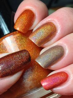 Fall Skittles Polishes used starting at thumb are Smitten Polish Seasonal Lattes, Pahlish Bespoke Batch The Wish of a Golden Fish, KBShimmer Run! It's the Coppers, KBShimmer Big Tan on Campus and KBShimmer Rust No One. Fall Gel Nails, Fall Nail Art, Winter Nails, Mani Pedi, Manicure And Pedicure, Elite Nails, Eye Makeup Art, Nail Games, Fall Nail Designs