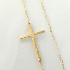 Sideways Cross Necklace Off Center 14K Gold by classicdesigns