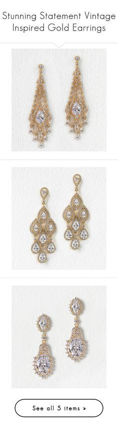 Stunning Statement Vintage Inspired Gold Earrings by Amy O. Bridal on Polyvore featuring long drop and chandelier bridal earrings. Gold tear drop Cubic Zirconia crystals dazzle as they decorate your ears with gorgeous stones that will turn heads. Complete your wedding look with these special vintage inspired earrings for the bride.