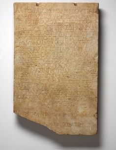 From RISD Museum, Roman, Tablet with Greek Inscription of Letter from Emperor Hadrian to Common Assembly of Macedonians CE), Marble, 29 × 19 … Ancient Rome, Ancient Greek, Classical Greece, Roman Sculpture, Greek Language, Sketch Notes, Wood Stone, Transcription, Macedonia
