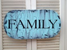 Shabby Chic Aqua and Black Crackled Family Sign by SassySouthernCharm, $20.00