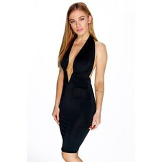 Boohoo Petite Petite Amy Extreme Plunge Halter Neck Dress ($30) ❤ liked on Polyvore featuring dresses, black, petite cocktail dress, black sequin cocktail dress, black halter dress, black party dresses et bodycon maxi dress