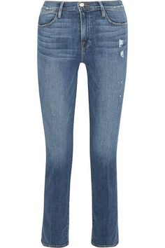 FRAME's jeans are cut slim through the thigh and fall into a relaxed straight-leg silhouette. Made from stretch-denim for the most comfortable fit, they are lightly faded, frayed and distressed. Wear yours with a tucked-in shirt and loafers.