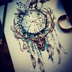 watercolor tattoo moose - Google Search