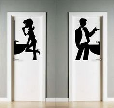 Bathroom Signage, Office Bathroom, Bathroom Doors, Washroom Design, Toilet Design, Bares Y Pubs, Wc Sign, Wall Design, House Design