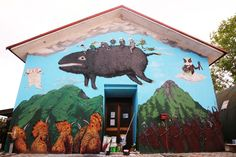 Ericailcane for Clorofilla Project in Belluno, Italy, 2016 Urban Art, Moose Art, Italy, Projects, Animals, Art, Log Projects, Street Art, Animaux