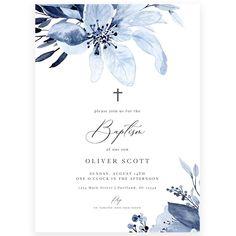 Blue Florals Baptism Invitation | Forever Your Prints