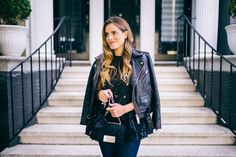 Denim, Leather & Lace - Club Monaco Jacket, No. 21 Top, Joe's Jeans, and Carolina Herrera Bag