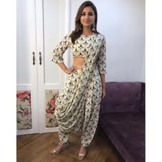 Parineeti Chopra in Payal Singhal crop top, dhoti pants & attached saree drape. Indian Wedding Outfits, Indian Outfits, Indian Designer Outfits, Designer Dresses, Stylish Dresses, Fashion Dresses, Indian Gowns Dresses, Saree Dress, Indian Attire