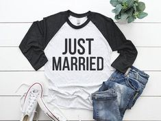 Just Married Shirt Set, Honeymoon Shirts, Husband and Wifey Shirt Set, Wifey Shirt, Wifey Husband Shirts, Mr and Mrs Shirts, Just Married by GNDYCollection  24.99 USD  …………………………………. G A R M E N T ∙ F E A T U R E S : • Uniquely soft washed fabrication • Modern, Loose-fit • Sewn in label • Unisex Tri-Blend 3/4 Raglan Tee • Runs smaller than usual • Color may vary slightly from monitor to print due to monitor settings and the nature of handcrafting the product. …………………………………. F A B R I..