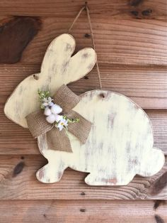 A cute hand painted rustic farmhouse style bunny! He has a burlap bow tie with cotton and florals. They can also be a set facing one another for double doors! It measures approximately x It's made from quarter inch wood and sealed for protection. Spring Projects, Easter Projects, Spring Crafts, Bunny Crafts, Easter Crafts, Easter Decor, Valentine Crafts, Holiday Crafts, Diy Ostern