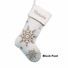 Personalized Gold Sparkling Snowflakes Christmas Stocking - http://www.christmasshack.com/christmas-stockings/personalized-gold-sparkling-snowflakes-christmas-stocking/