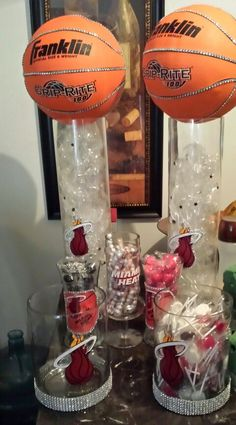Customized Candy Buffet Jars  and customized basketball centerpices for Miami Heat Theme Baby Shower
