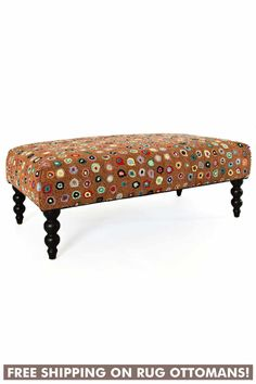 Get on the hot seat with our back-by-popular-demand rug ottomans, shipped for free! Cushioned bench topped with a smashing Dash & Albert wool hooked rug, with eye-catching turned wooden legs. Ottoman Furniture, Dash And Albert, Rug Company, Bench Cushions, Eclectic Decor, Room Colors, Area Rugs, Interior Design, Colorful Rooms
