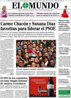 Los Titulares y Portadas de Noticias Destacadas Españolas del 18 de Noviembre de 2013 del Diario El Mundo ¿Que le pareció esta Portada de este Diario Español?