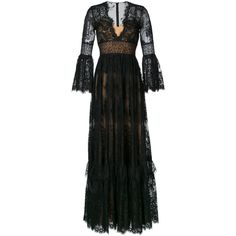 Zuhair Murad v-neck lace gown ($7,200) ❤ liked on Polyvore featuring dresses, gowns, black, zuhair murad evening dresses, zuhair murad, v neck evening gown, v-neck dresses and lace ball gown