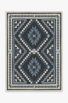 Inspired by storm pattern, a well-known Navajo design, Dakotah Ivory Blue Rug features a central diamond pattern surrounded by four corner triangles in striking hues of ivory and slate blue. Coral Rug, Turquoise Rug, Navy Rug, Pink Rug, Washable Area Rugs, Machine Washable Rugs, Stone Rug, Burgundy Rugs, Home