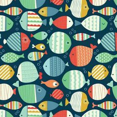 Image discovered by Maulidya Septarina. Find images and videos about animal, illustration and pattern on We Heart It the app to get lost in what you love. Fish Patterns, Pretty Patterns, Beautiful Patterns, Fish Illustration, Pattern Illustration, Illustrations, Motifs Textiles, Textile Patterns, Cute Pattern