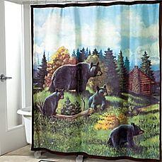Image Of Avanti Black Bear Lodge Shower Curtain