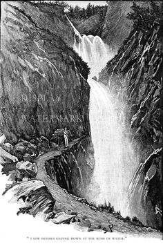 Sidney Paget Drawing of Sherlock Holmes at Reichenbach Falls 1893