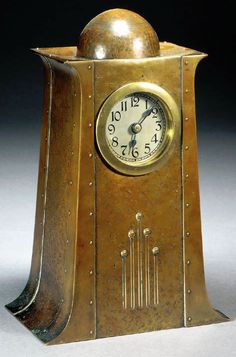 WMF Secessionist copper and brass clock, hammered copper with riveted construction, stamped factory mark and number.