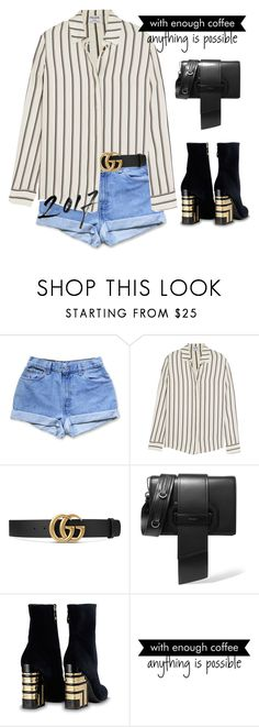 """""""#1348"""" by sarabutterfly ❤ liked on Polyvore featuring Levi's, Frame, Gucci, Prada, WALL, statementbags and librarychic"""