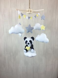 Baby mobile panda mobile cloud babies par JuniperStreetDesigns