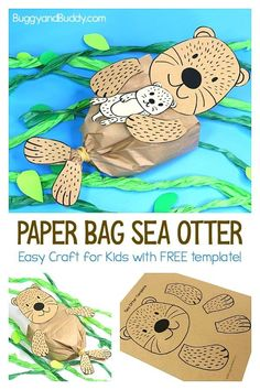 Paper Bag Sea Otter Craft for Kids with Free Printable Template: This sea otter craft is super easy to make and goes great with an ocean or sea life unit. You can even add a printable baby sea otter, sea star or make a tissue paper kelp forest for your sea otter. #oceancrafts #sealifecrafts #seaotter #seaottercraft #paperbagcraft