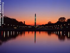 View of the Washington Monument and Reflecting Pool at Dusk - andrewprokos.com