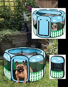Pet Portable Foldable Play Pen Exercise Kennel Dogs Cats Indoor/outdoor  Tent For Small Medium Large Pets Animal Playpen With Pop Up Mesh Cover  Great For ...
