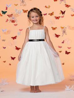 #Wishesbridal Ribbon Spaghetti Strap Ankle Length A Line White Flower Girl Dress B3jo0027