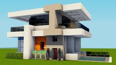 [How to build a mansion tutorial] easy, beautiful awesome minecraft house Modern house in a cool sty. Modern Minecraft Houses, Minecraft Houses Blueprints, Minecraft Architecture, Minecraft Designs, Minecraft Creations, Minecraft Projects, House Blueprints, Minecraft Buildings, Modern Houses