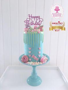 25 cm high Dripcake by Carolinchens Zuckerwelt Cupcakes, Cake Cookies, 10 Birthday Cake, 10th Birthday, Drip Cake Recipes, Drizzle Cake, Drip Cakes, Cake Shop, Fancy Cakes