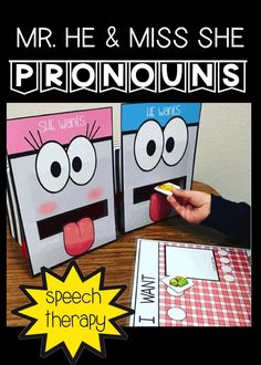 Speech Therapists, teachers do you need help with pronouns? This fun resource includes Feeding Mouths, sentence making mats for Speech Therapy and Classroom Teachers – visual cues - This 40 page resource will help your students remember how to use the correct pronouns! But WAIT! There's also fun feeding activities for nonverbal and limited verbal students! These are perfect for speech therapy, special education, autism, kindergarten, 1st, 2nd, graders. {preK, Kinder, speech therapy, gen ed}