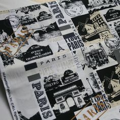 100x110cm Export Order_Black and White Paris Plain Cotton Patchwork Fabrics Telas Vintage Sewing Material Sofa Upholstery Cloth