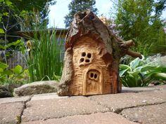 little fairy house out of cottonwood hand made