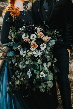 Photo by Ashley Medrano Photography Florals by De Vinnie's Paradise Pagan Wedding, Gothic Wedding, Forest Wedding, Dream Wedding, Geek Wedding, Medieval Wedding, Fantasy Wedding, Woodland Wedding, Black Wedding Dresses