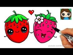 "Képtalálat a következőre: ""cute strawberry drawing"" Cartoon Drawings Of Animals, Cute Food Drawings, Cute Kawaii Drawings, Cute Animal Drawings, Doodle Drawings, Cute Kawaii Animals, Cute Cartoon Animals, Simple Doodles, Cute Doodles"