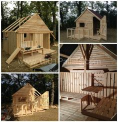 I decided to build a 19 Pallet Teenager Cabin Hideaway. This time, the cabin& larger and better suited for teenagers. It can be built from old pallets too. Pallet Playhouse, Pallet Shed, Build A Playhouse, Pallet Bar, Pallet House Plans, Playhouse Furniture, Wooden Pallet Crafts, Wooden Pallet Furniture, Diy Pallet Projects