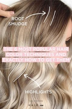 Here are the most popular hair color techniques you need to know about - and how to achieve the look as well. color tips The 6 Most Popular Hair Color Techniques And Exactly How To Get Them Hair Color Streaks, Hair Color Highlights, Ombre Hair Color, Hair Color Balayage, Brown Hair Colors, Hair Color Gloss, At Home Highlights, Redken Hair Color, Hair Foils