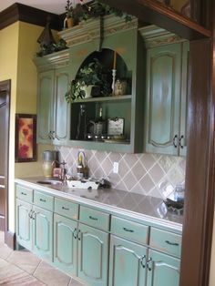images green kitchen cabinets #35722
