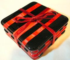 Black & Red Striped Fused Glass Coasters   by KCCreeksideCreations, $24.00