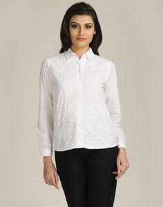 Cotton Plain Chikankari Shirt