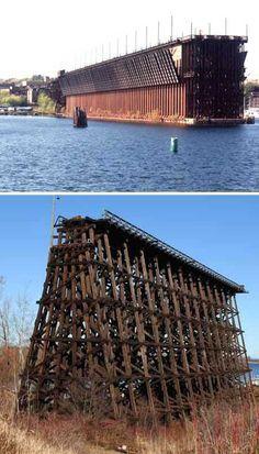Marquette Michigan wooden abandoned train trestle - Highest Steam: 9 Abandoned Railroad & Train Bridge Trestles - Web Urbanist