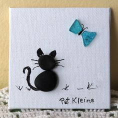 Miniature Original Pebble Art Picture CAT от LakeshorePebbleArt