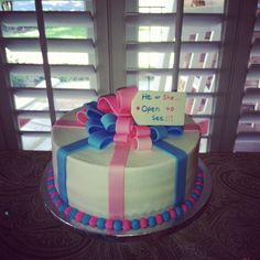 Baby Gender Reveal Cake. I know someone who thought about doing this. Its a really good idea!