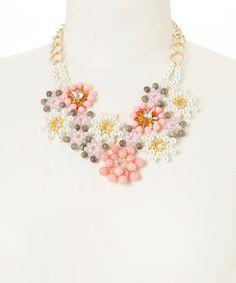 Look at this #zulilyfind! Coral Flower Bib Necklace by J & H Creations #zulilyfinds