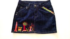 Skirt Jeans Fantasy blue with silk hand paint by InSetArte on Etsy